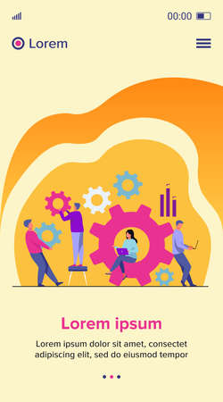 Business team working on cogwheel mechanism together. People carrying gears, using laptops . Vector illustration for teamwork, technology, solution, engineering concept Çizim