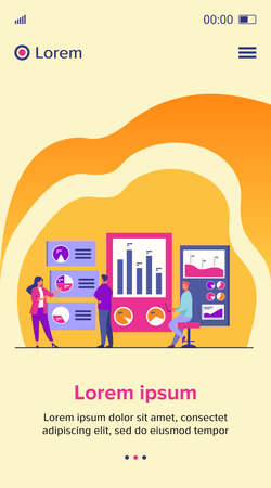 Office workers analyzing and researching business data vector illustration. Marketing analysts developing strategy. Business people studying infographics and diagrams on dashboard