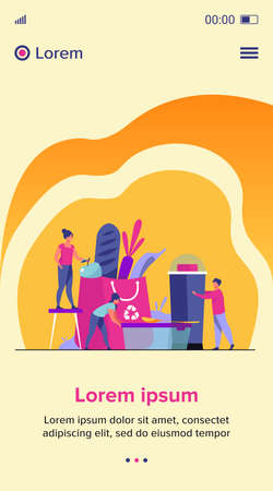 People shopping with eco friendly bag flat vector illustration. Sustainable plastic and organic food. Environment, future and recycling concept. Illusztráció