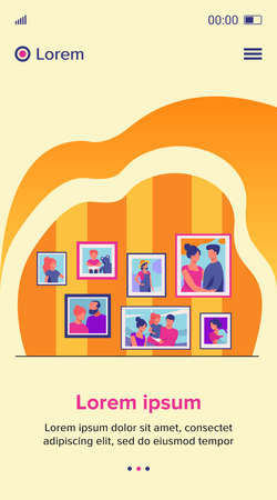 Family portrait pictures in frames on wall. Happy parents and kids framed photos in home interior. Vector illustration for home decoration, photography, generation concept 向量圖像