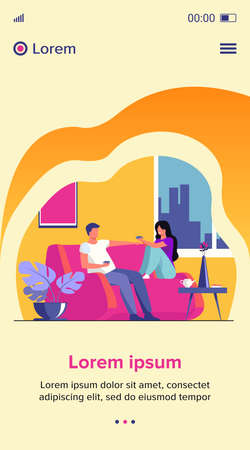 Romantic couple sitting at sofa, talking and drinking coffee flat vector illustration. Man and woman living together in apartment Romance and love concept. 向量圖像