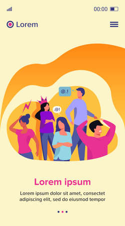 Group of people with problem behavior. Arrogant, angry, bored, selfish, proud man and woman failing in communication. Vector illustration for society, social skills concept Stock fotó - 155882816