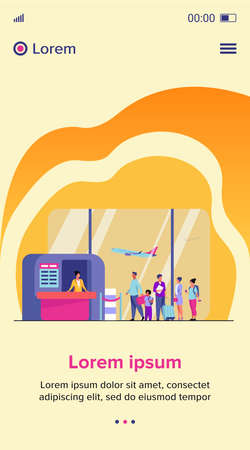 Airport queue vector illustration. Line of tourists standing at check in desk. Flight passengers waiting for boarding to plane in departure area 向量圖像