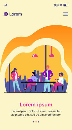 Employees meeting in office kitchen and drinking coffee. Team of workers talking during coffee break. Vector illustration for teamwork, lunch, corporate communication concept Illusztráció
