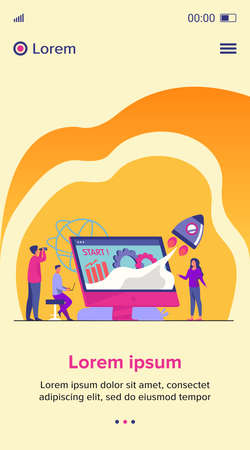 Team starting project. Workgroup working on startup, launching rocket from monitor with growth chart. Vector illustration for new business idea concept Çizim