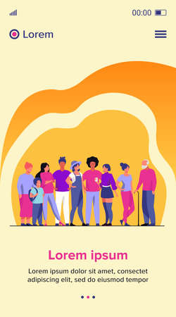 Diverse crowd of people of different ages and races. Multiracial community members standing together. Vector illustration for civil society, diversity, multinational public concept 向量圖像