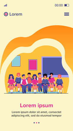 School students posing for class portrait in classroom. Teen girls and boys wearing uniform, sitting on chairs in rows and smiling. Vector illustration for photo, classmates, education concept 向量圖像