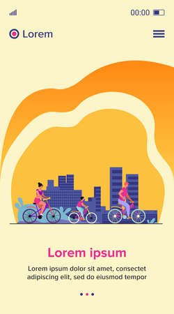 Family weekend outdoors. Man, woman, boy riding bikes in park. Parent couple cycling with son. Vector illustration for summer activity, leisure, recreation concept Çizim