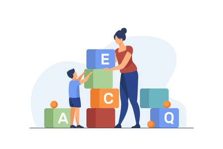 Mom and little son studying letters. Woman and kid playing toy blocks flat vector illustration. Preschool education, learning concept for banner, website design or landing web page