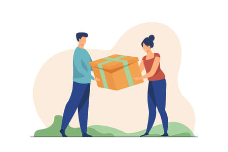 Couple holding gift. Man and woman competing for present, pulling box flat vector illustration. Conflict, competition, relationship concept for banner, website design or landing web page