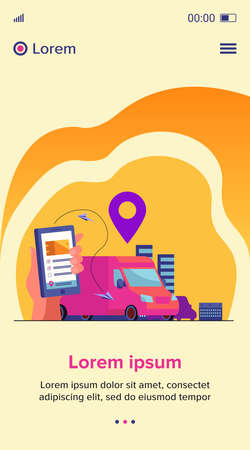 Customer using mobile app for tracking order delivery. Human hand with smartphone and courier van on street with map pointer above. Vector illustration for gps, logistics, service concept 向量圖像
