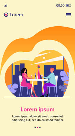 Dating couple enjoying romantic dinner. Young man and woman sitting at restaurant table, drinking wine. Vector illustration for relationship, love, anniversary concept 向量圖像