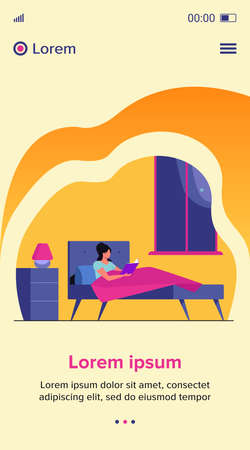 Young woman reading book before going to sleep. Girl resting in bed near bedside lamp and window at night. Vector illustration for bookworm, literature, hobby concept