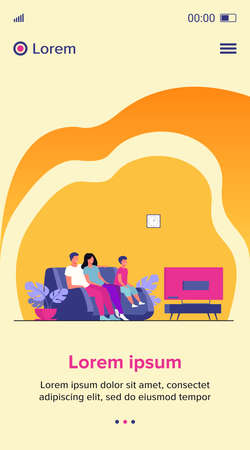 Happy family watching TV together flat vector illustration. Cartoon mother, father and kid sitting on couch or sofa at home and watching movie. Lifestyle and entertainment concept 向量圖像