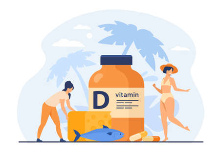 Tiny women eating fatty fish, vitamin D, cheese and sunbathing flat vector illustration. Cartoon ladies using food supplements for deficiency reduction. Wellbeing and health concept Illustration