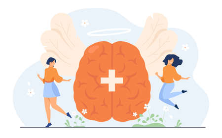 Happy tiny women with positive thoughts and philosophy of life isolated flat vector illustration. Abstract creative strategy and mind power to health improvement. Brain and dream control concept Ilustracja