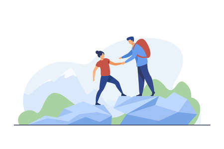 Two tourists hiking in mountains. Travel, backpack, nature flat vector illustration. Vacation and summer activity concept for banner, website design or landing web page