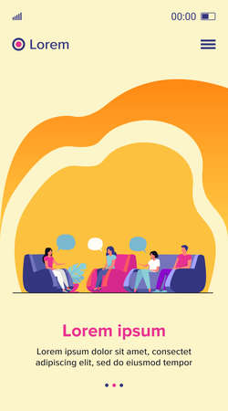 Group therapy and support concept. People meeting together to discuss addiction problem with psychologist. Flat vector illustration for counselling and help topics