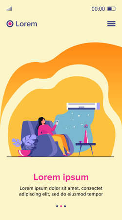 Woman relaxing in arm chair at home, turning on air conditioner system, holding remote control device. Flat vector illustration for summer, cleaning, comfort at home, appliance concept 矢量图像