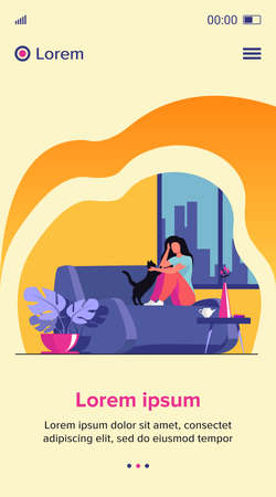Woman relaxing at cozy home. Girl sitting on couch and petting cat. Vector illustration for comfort, hygge, house, apartment concept