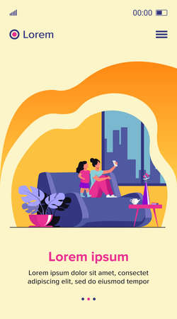 Mom and daughter using smartphone for video chat at home. Woman and little girl sitting on couch and taking selfie with phone. Vector illustration for family, having fun together concept