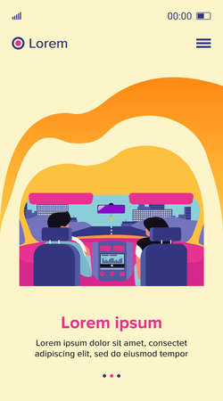Couple riding vehicle. Back view of driver and passenger inside car interior. View from backseat. Vector illustration for driving, transportation, automobile, traffic concept