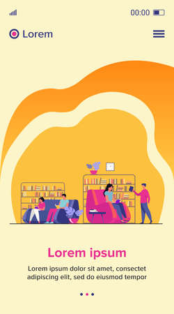 Students studying and reading in library. People sitting on sofa at bookcases and bookshelves flat vector illustration. Education concept for banner, website design or landing web page