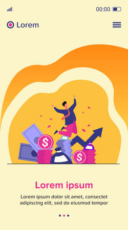 Happy rich banker celebrating income growth. Broker enjoying success in stock market trading. Flat vector illustration for money, finance, millionaire concept Illusztráció