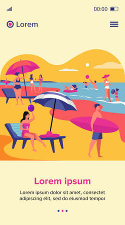 People resting on sea beach in summer. Women and men swimming and sitting under umbrella flat vector illustration. Vacation leisure concept for banner, website design or landing web page