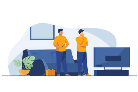 Two handymen repairing television. Electrician, home, repairman flat vector illustration. Maintenance and service concept for banner, website design or landing web page