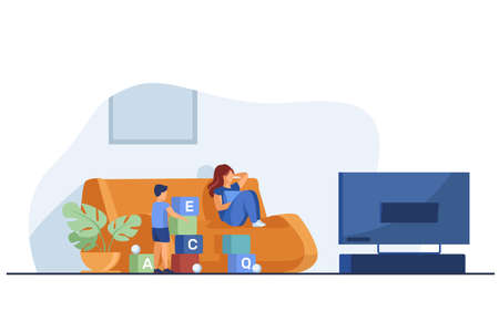Mother watching TV and son playing near her. Fun, game, leisure flat vector illustration. Family and entertainment concept for banner, website design or landing web page