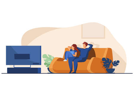 Happy couple watching TV together. Relaxation, sofa, movie flat vector illustration. Family and entertainment concept for banner, website design or landing web page