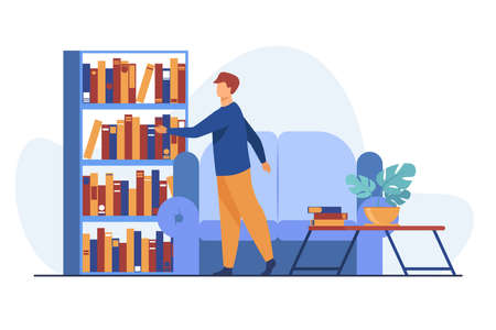 Man choosing book in home library. Leisure, shelf, sofa flat vector illustration. Hobby and entertainment concept for banner, website design or landing web page 向量圖像