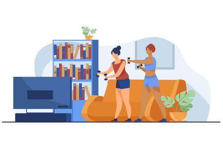 Active women doing video exercise together. Living room, aerobics, health flat vector illustration. Fitness and activity concept for banner, website design or landing web page 向量圖像
