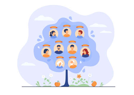 Family tree concept. Scheme of ancestry with three generations, relatives connection data. Flat vector illustration for heritage, genealogy, family history concept