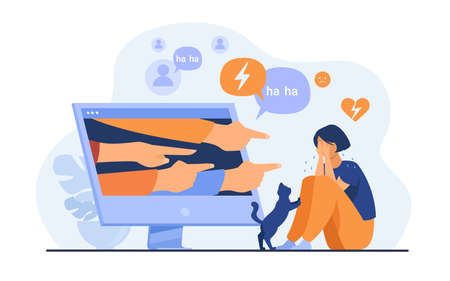Social media bullying. Haters pointing fingers frim monitor at victim, laughing at crying girl. Flat vector illustration for hate, violence, stress, online abuse concept 向量圖像