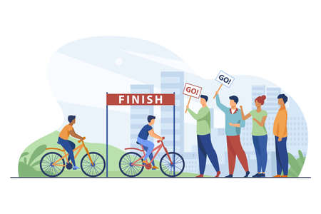 Cyclists competing on city bicycle marathon. Activity, crowd, cityscape flat vector illustration. Competition and sport concept for banner, website design or landing web page