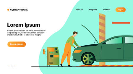 Auto mechanic repairing vehicle engine isolated flat vector illustration. Cartoon man fixing or checking car with open hood in garage. Service and maintenance concept
