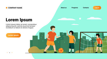 Active happy children playing football outdoors isolated flat vector illustration. Cartoon boys playing soccer, running and kicking ball on playground. Summer vacation and sport game concept