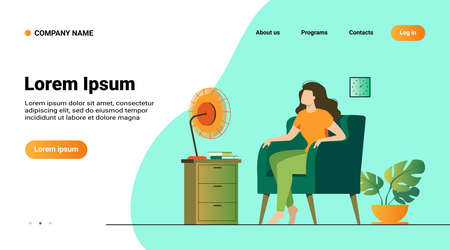 Woman conditioning air at home, feeling hot, trying to cool and sitting gat fan. Vector illustration for summer weather, home appliance, heat room concept