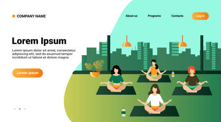 People practicing yoga. Women exercising at yoga class, sitting in lotus pose, meditating with teacher. Vector illustration can be used for physical activity, fitness, gym concept 일러스트