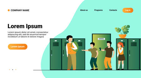 School bullying victim concept. Group of kids laughing at sad lonely boy, pointing finger at nerd in corridor. Vector illustration for aggressive children, social problem at school, conflict concept