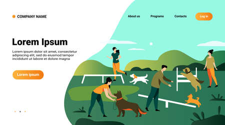 Happy people training dogs on jumping equipment in city park area. Vector illustration can be used for animal care, pets, hobby, community, lifestyle, friends, fun concept 일러스트