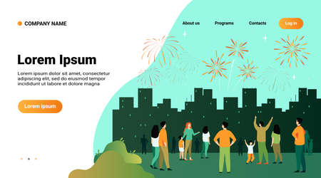 Festive city night concept. Crowd of people with children celebrating event and watching firework in sky over cityscape. Vector illustration for celebration, holiday, urban show topics