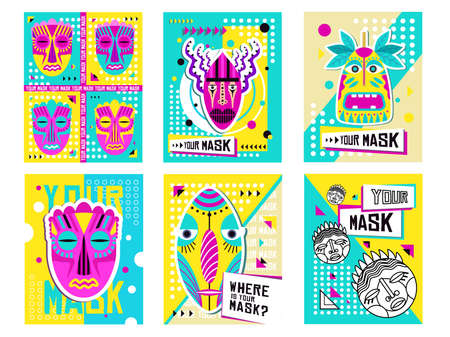Tribal masks greeting cards design set. Traditional decoration, souvenir in boho style vector illustration with text samples. Template for tropical party invitation cards or flyers