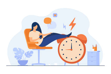 Lazy woman sitting in office and procrastinating flat vector illustration. Cartoon person wasting time with legs up on alarm watch. Daydream, leisure and laziness concept
