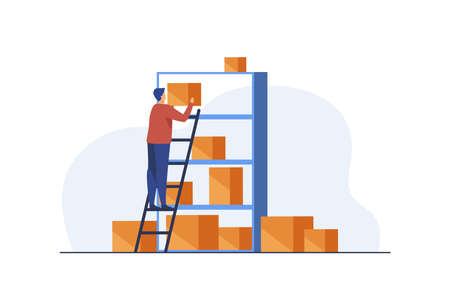 Man putting boxes on shelves of rack. Staircase, management. Flat vector illustration. Warehousing concept can be used for presentations, banner, website design, landing web page