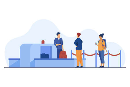 Airport worker checking passenger belongings through scanner. Boarding, control. Flat vector illustration. Travelling concept can be used for presentations, banner, website design, landing web page