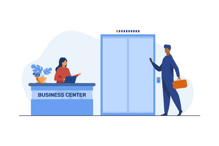 Businessman with suitcase coming to business center. Reception, job, occupation Flat vector illustration. Business concept can be used for presentations, banner, website design, landing web page 向量圖像