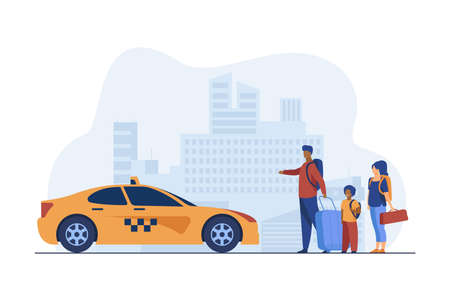 Young family with baggage taking taxi to airport. Cab, trip, taxi service. Flat vector illustration. Travelling concept can be used for presentations, banner, website design, landing web page 版權商用圖片 - 157077223